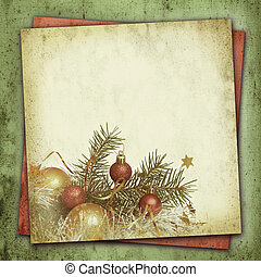 Christmas composition on vintage background - Christmas tree...