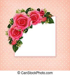 Rose flowers frame