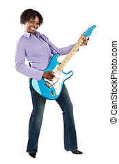 Woman playing an electric guitar over a white background