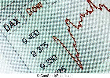 close up of a financial stock exchange chart - close up of a...