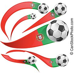 Portugal flag set with soccer ball