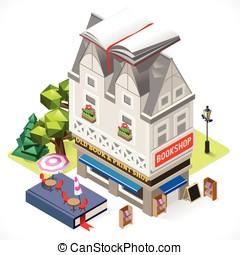Book Shop City Building 3D Isometric