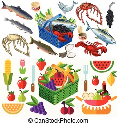 Food Set Fish and Vegetables 3D Isometric - Mixed Types of...