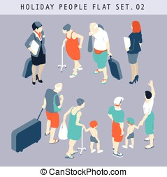 Tourist People 3D Flat Isometric Set 02 - Flat style tourist...