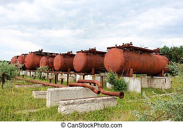 Rusty liquified gas cylinders - A photo of Rusty liquified...