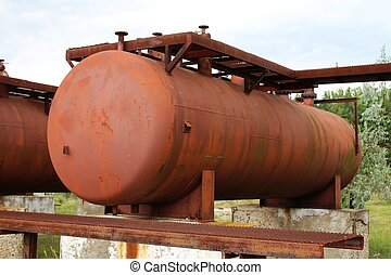 Rusty liquified gas cylinder - A photo of Rusty liquified...