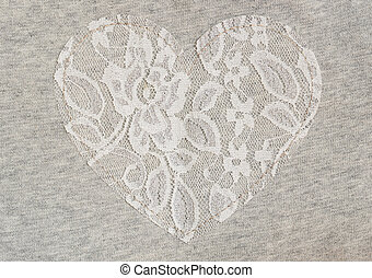 Gray jersey fabric with lace heart - Gray jersey fabric with...