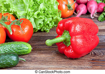 Vegetables on wooden background