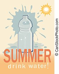 bottle of water,summer background - bottle of water and...