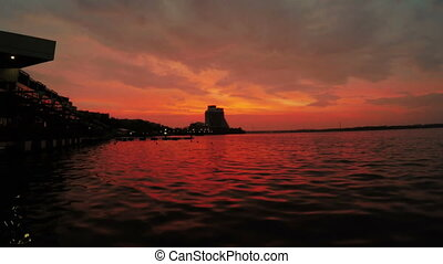 Sunset on river - On Dnieper River pier and sunset