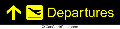 Departures Sign - Airport yellow departures sign on a black...