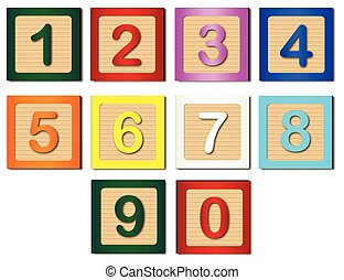 Number Blocks - Wooden blocks with numbers 1 to 0