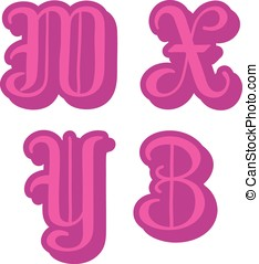 Alphabet letters W, X, Y, Z in pink round capitals -...