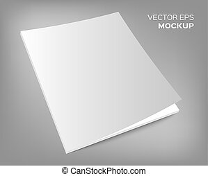 magazine mockup on grey background - Isolated blank brochure...