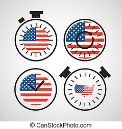 american flag in clock for independence day time - vector...
