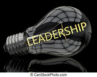 Leadership - lightbulb on black background with text in it....