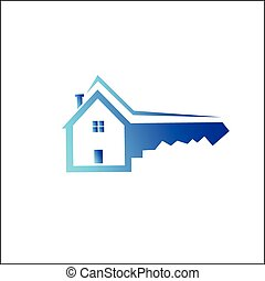 House key symbol - Vector illustration - House key symbol on...