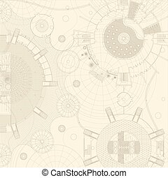 Blueprint - Vector blueprints on a beige background Engeneer...