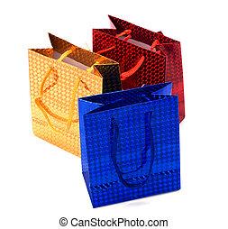 袋, 贈り物, 隔離された, ペーパー, 背景, 白, 光沢がある