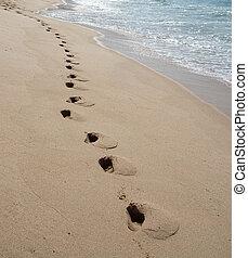 Foot prints on sandy beach