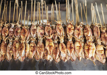 Asiático, grelhados, lula, em, kep, mercado, cambodia,
