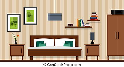 Bedroom interior - vector flat style