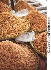 Asiático, secado, camarão, em, kep, mercado,...