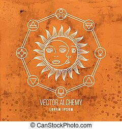 Vector geometric alchemy symbol with sun, moon, shapes and...
