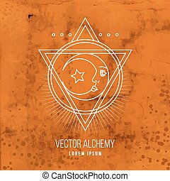 Vector geometric alchemy symbol with eye, moon, shapes....