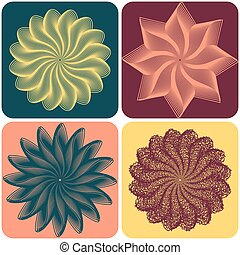 Set of abstract flowers Vector - Set of abstract flowers on...