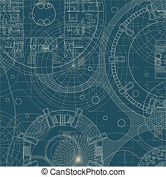 Blueprint Architectural plan - Blueprint on a blue...
