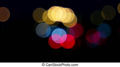 Blurred street lights in the night Carlights defocused -...