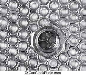 metal nuts on white background - metal shine nuts on white...