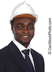 attractive young architect a over white background