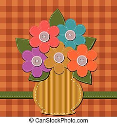 scrapbook vase with flowers