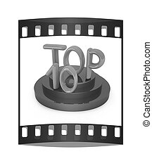 Top ten icon on white background 3d rendered image The film...