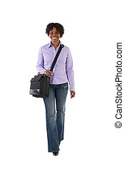 Attractive business woman walking a over white background