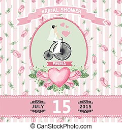Wedding invitationBride,watercolor roses,retro bike - Retro...