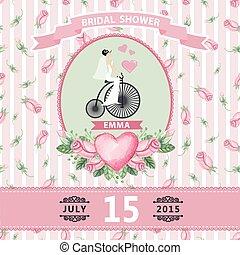 Wedding invitation.Bride,watercolor roses,retro bike - Retro...