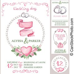 Watercolor wedding invitation setPink roses,pearls,rings -...
