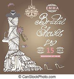 Bridal Shower  invitation.Cute wedding dress