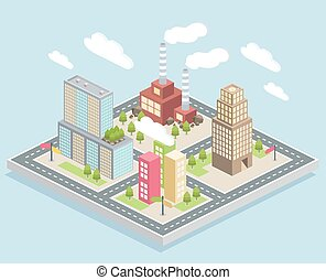 Isometric view, a small city