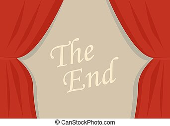 A closing curtain - A red velvet curtain closing with words