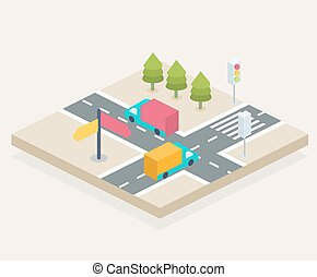 Crossroads - Isometric view of a crossroads, city...