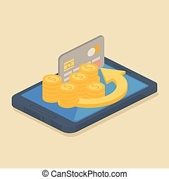 Mobile money or online banking concept with a grey credit...