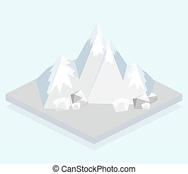 Isometric view, a mountain - Ski Mountain. Isometric view....