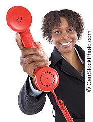 Woman with a red phone a over white background