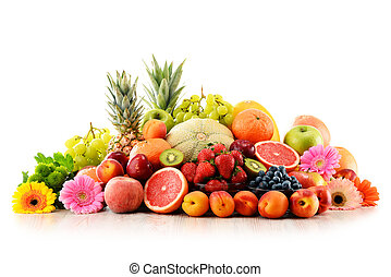 Composition with assorted fruits isolated on white