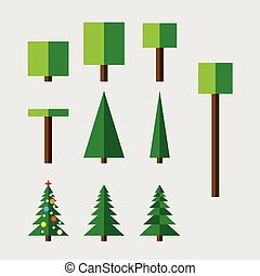 Set of trees - Set of vector trees Bush, deciduous and...