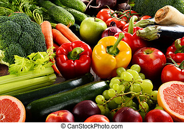 Composition with a variety of organic vegetables and fruits